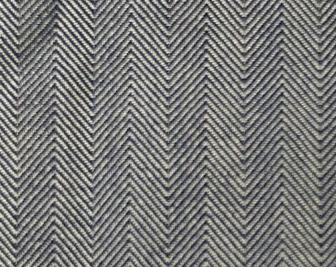 Herringbone Denim Fabric Blue Cotton By the Yard Indigo Blue Striped Upholstery Slipcovers Apparel Bags