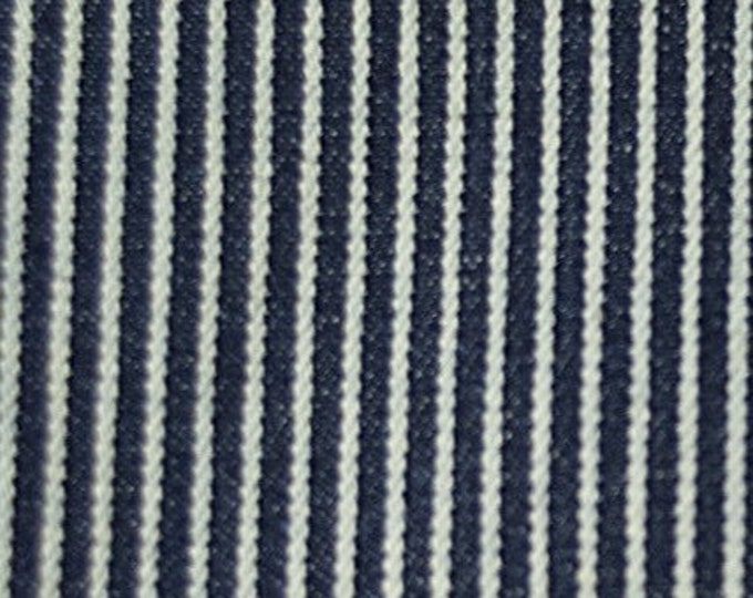 Railroad Stripe Denim Fabric Blue White Cotton By the Yard Wide Striped