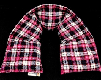 Flannel Neck Heating Pad, Heated Neck Wrap, Microwave Heat Pack, Pink Plaid Corn Bag, Hot or Cold Pack , Stress Relief, Neck Pain