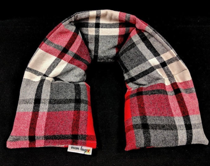 Flannel Neck Heating Pad, Heated Neck Wrap, Microwave Heat Pack, Corn Bag, Hot Cold Therapy, Stress Relief, Neck Pain, Christmas Gift, Plaid