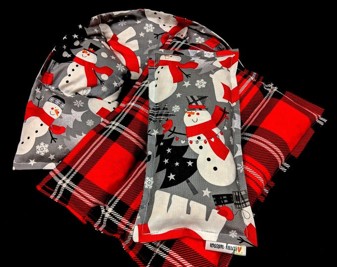 Heating Pad Set, Microwave Heat Pack, Corn Bags, Heated Neck Wrap, Neck Pain, Christmas Gift, Hostess Gift, Holiday Gift Guide, Snowman Set