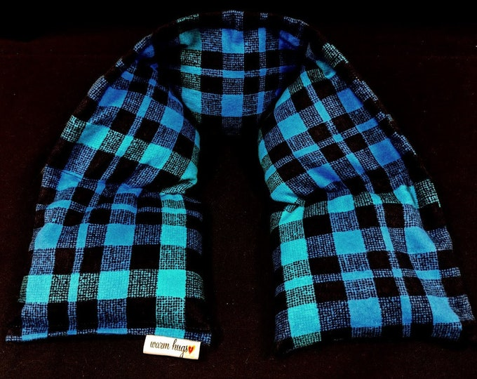 Flannel WarmHugs Neck Heating Pad, Heated Neck Wrap, Microwave Heat Pack, Corn Bag, Stress Relief, Neck Pain, Dorm Room Gift, Relaxation
