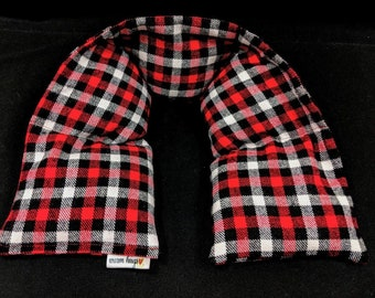 Flannel Neck Heating Pad, Heated Neck Wrap, Microwave Heat Pack, Corn Bag, Hot or Cold Pack , Stress Relief, Neck Pain