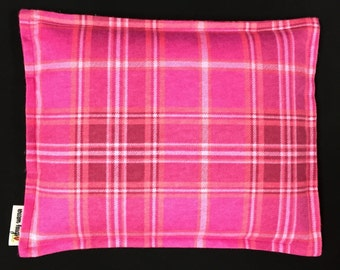 Flannel Corn Heating Pad, Corn Bag 9 x 11, Microwavable Heat Pack, Massage Spa Therapy Pillow, Relaxation Gift, Heated Bags, Pink Plaid