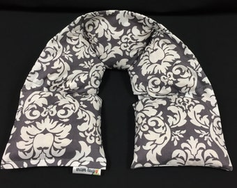 Neck Heating Pad, Heated Neck Wrap, Microwave Heating Pad, Corn Bags, Spa Relaxation, Massage Therapy, Gift for Her, Gray Damask, Mom Gift