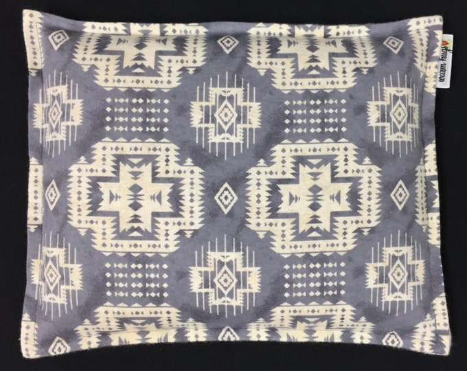 Corn Bags, Flannel Corn Heating Pad 9 x 11, Microwavable Heat Pack, Cabin Decor, Relaxation Gift, Heated Pillow, Gray Cream Navajo Design