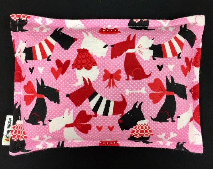 Microwave Corn Heating Pad, Valentines Day Gift, Flannel Corn Bags, Heated Bag, Massage Therapy, Muscle Aches, Relaxation Gift, Scottie Dogs