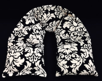 Warm Hugs Heated Neck Wraps, Microwave Corn Bags, Heat Packs, Hot Cold Therapy, Massage Therapy, Neck Warmer, Gift For Her - Black Damask