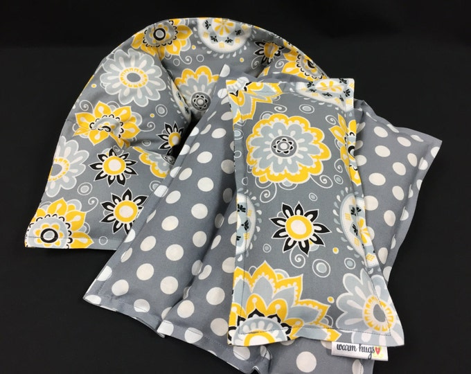 Warm Hugs Heating Pad Set, Microwave Heat Pack, Corn Bags, Self Care Set, Nurse Gift, Get Well, New Mom, Endometriosis, Dorm, Spa Kit