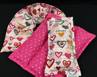 Warm Hugs Heating Pad Gift Set, Heart Corn Bags, Relaxation Heat Pack, Cold Pack, Massage Therapy, Valentines Day Spa Gift For Her