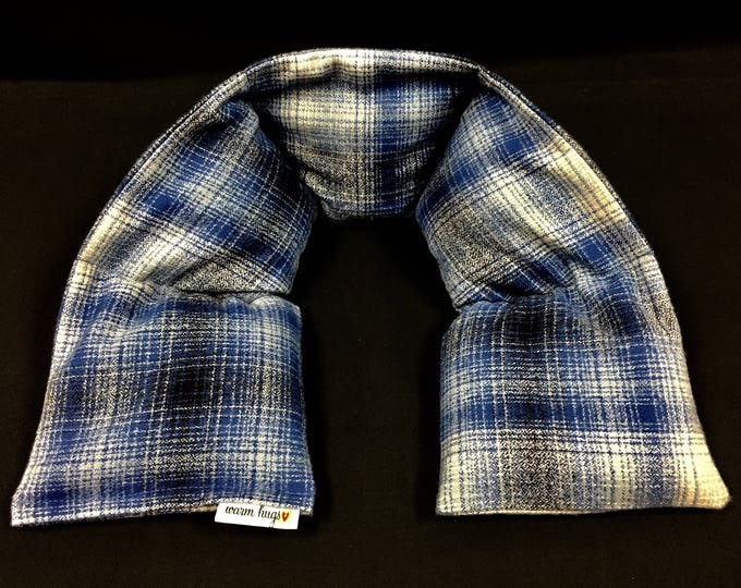 Flannel Neck Heating Pad, Heated Neck Wrap, Relaxation Gift, Corn Bag, Massage Therapy, Heat Pack, Boyfriend Gift, Warm Hug, Dad Gift