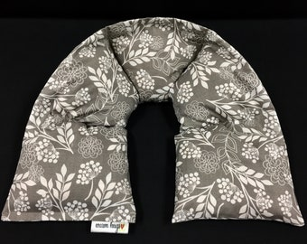 Neck Heating Pad, Heated Neck Wrap, Microwave Heat Wrap, Corn Bags, Spa Relaxation, Massage Therapy, Gift for Her, Taupe and White Floral