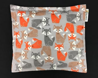 Flannel Heating Pad Corn Bag, Microwave Heating Pad, Heated Bag, Kids Corn Bags, Cold Pack, Relaxation Gift, Get Well Gift, Fox Corn Bag
