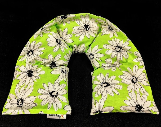 Heated Neck Wrap, Corn Bag Neck Warmer, Corn Heating Pad, Microwave Neck Wrap, Hostess Gift, Teen Gift, Spa Massage Therapy, Lime Daisy