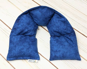 Warm Hugs Microwave Heated Neck Wrap Blue or Purple, Corn Bag Heating Pad, Stress Relief Muscle Comfort, Get Well Gift, Thinking of You