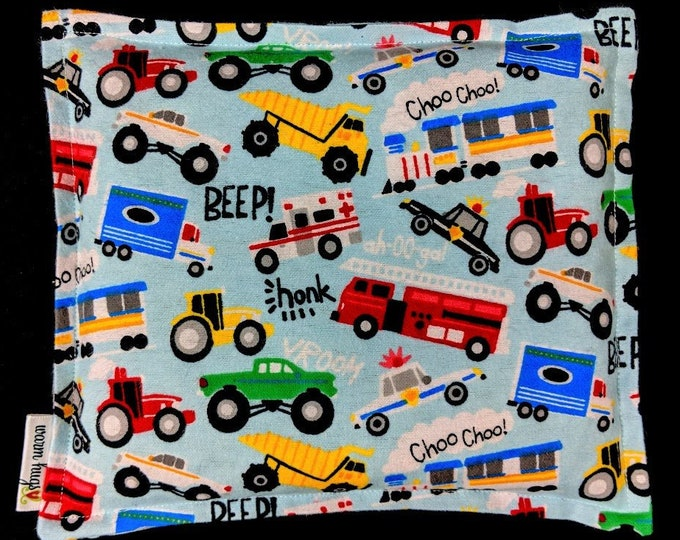 Flannel Kids Corn Bags, Heat Pack, Microwave Corn Heating Pad, Heated Bag, Ice Pack, Relaxation Gift, Gift for Children, Trucks Corn Bag