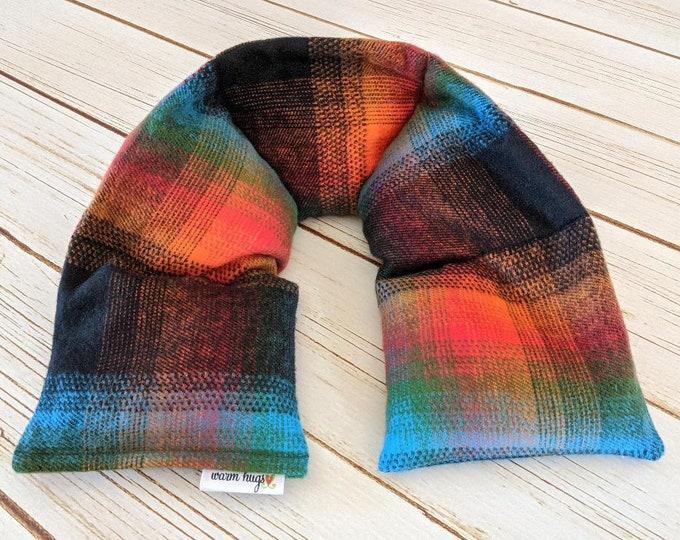 Warm Hugs Microwave Heated Flannel Neck Wrap, Corn Bag Heating Pad, Stress Relief Social Distance Hug, Muscle Pain, Comfort Gift, Minnesota