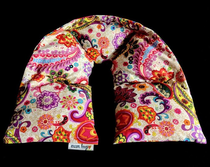 Corn Heating Pad, Heated Neck Wrap, Corn Bags, Massage Spa Gift, Relaxation Gift, Neck Pain Relief, Gift for Her, Bright Paisley Floral