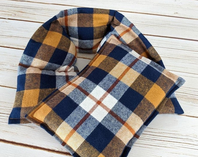 Warm Hugs Flannel Corn Heating Pad Set , Heated Neck Wrap, Microwave Heat Pack, Plaid Corn Bags, Hot or Cold, Stress Relief, Neck Pain