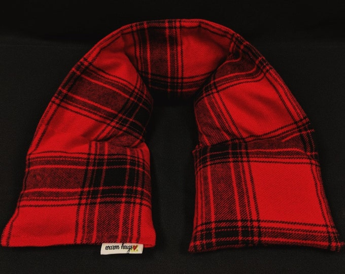 Flannel Heated Neck Wrap, Neck Heat Pack, Microwave Heating Pad, Corn Bag, Neck Warmer, Massage, Cold Pack, Christmas Gift, Dorm Room, Cabin