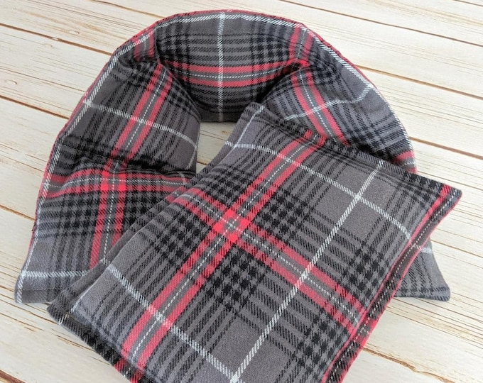 Warm Hugs Flannel Corn Heating Pad Set , Heated Neck Wrap, Microwave Heat Pack, Plaid Corn Bags, Hot Cold Therapy, Stress Relief, Neck Pain