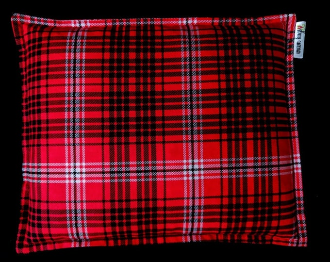 Red Plaid Corn Bag, Corn Heating Pad 9 x 11, Microwavable Heat Pack, Relaxation Gift, Heated Pillow, Dorm Room, Muscle Pain Relief, Hot Pack