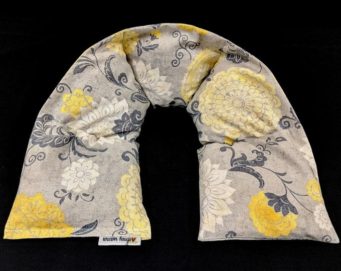 Corn Heating Pad, Heated Neck Wrap, Corn Bags, Massage Spa Gift, Relaxation Gift, Mothers Day Gift Idea - Gray Yellow Floral