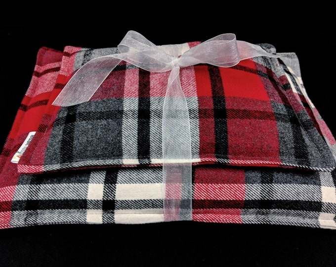 Heating Pad Microwavable, Plaid Flannel Corn Heating Pad Set, Corn Bags, Heat Packs, Relaxation Gift, Cabin Bed Warmer, Christmas Gift