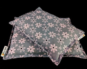 Corn Bag Set, 2 Piece Heating Pad Set, Corn Bags, Gray and Pink Floral, Dorm Room Gift, Cramp Pain Relief, Hot Cold Therapy, Spa Massage Bag