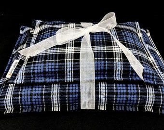 Blue Plaid Flannel Corn Heating Pad Set, Corn Bags, Microwave Heating Pad, Heat Therapy, Relaxation Gift, Cabin Bed Warmer