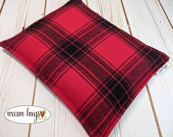 Warm Hugs Flannel Corn Heating Pad 9 x 11, Corn Bags, Microwave Heat Pack, Hot Cold Therapy Relaxation Pillow, Bed Warmer, Red Black Plaid