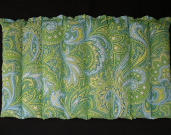Microwavable Heating Pad, Corn Bag Heat Pack, Massage Therapy, Cramps, Lumbar Heat, Hot Cold Pack, Arthritis -  Green and Blue Paisley