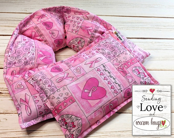 Warm Hug Gift Set, Breast Cancer Get Well Gift, Hot Cold Comfort Pillow, Massage Therapy, Pink Ribbon Gift, Corn Bags, Microwave Heat Packs