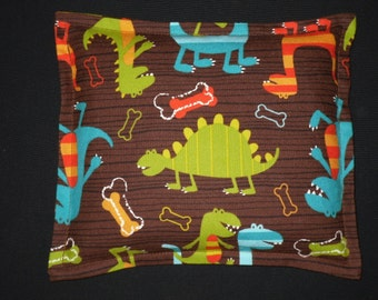 Microwavable Heating Pad Corn Bag for Children- Bed Warmer and Cuddler- Dino Dudes Brown