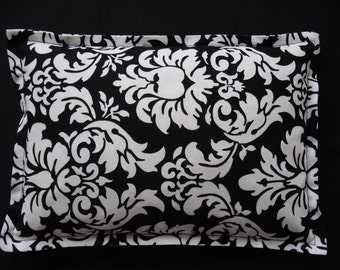 Corn Bag, Heating Pad, Microwave Corn Bag, Migraines, Muscle Aches, Workout Heat Pack, Massage Relaxation Gift- Black and White Damask