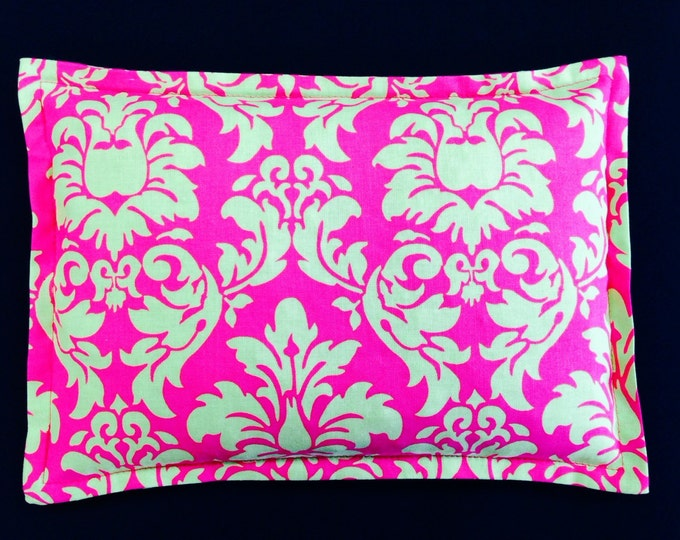 Corn Heating Pad, Microwave Corn Bag, Spa Relaxation Gift, Bridesmaid Gift, Massage Therapy, Heated Pillow - Hot Pink / Lime Damask