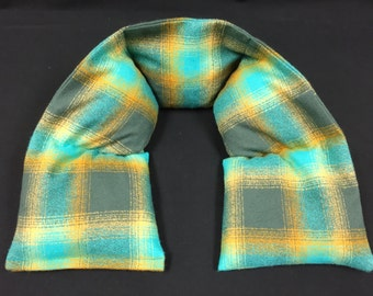 Flannel Heated Neck Warmer, Microwavable Neck Heating Pad, Corn Bags, Massage Therapy, Heat Therapy Wrap - Teal Gray Plaid Brushed Cotton