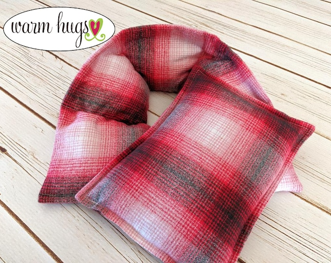 Warm Hugs Flannel Hot Cold Comfort Set , Heated Neck Wrap, Microwave Heat Pack, Plaid Corn Bags, Stress Relief, Neck Pain, Self Care Package