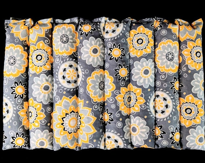 Warm Hugs Lumbar Heating Pad, Microwave Corn Bag, Arthritis Heat Pack, Relaxation, Muscle Aches, Heat Massage Therapy - Yellow Gray Floral