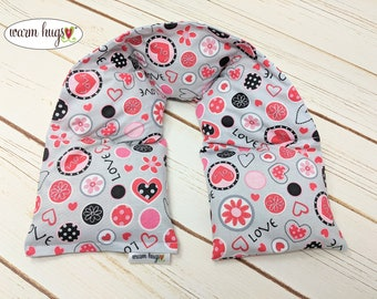 Warm Hugs Microwave Heated Neck Wrap, Love and Hearts Corn Bag Heating Pad, Computer Neck Stress Relief, Dorm Room, Hot Cold Therapy