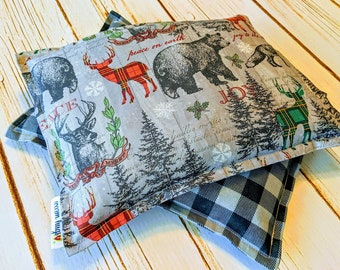 Corn Bag Gift Set, Woodland Animals, Corn Bags, Microwavable Heating Pad, Heated Bags , Hot Cold Therapy, Host Gift Set of Two 7 x 9 Bags