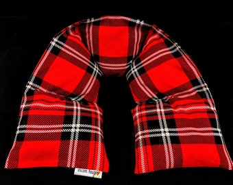 Red Plaid Neck Heating Pad, Heated Neck Wrap, Microwave Heat Pack, Corn Bag, Hot Cold Therapy, Stress Relief, Neck Pain