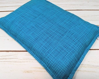 Large Warm Hug Corn Bag, Corn Heating Pad, Corn Bag Bed Warmer, Relaxation Gift, Microwave Heat, Hot Cold Therapy Pillow, Turquoise Grid