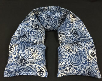 Heated Neck Wrap, Corn Heating Pad, Corn Bags, Hot Cold Therapy, Gift for Her, Massage Therapy, Physical Therapy, Hostess Gift- Blue Paisley