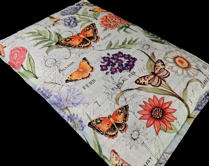 Corn Heating Pad, Large Corn Bag, Microwavable Heat Pack, Hot Cold Therapy, Massage Therapy, Bed Warmer, Gardener Gift, Butterfly Floral