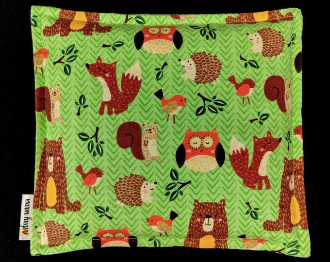 Flannel Kids Corn Bags, Heat Pack, Microwave Corn Heating Pad, Heated Bag, Ice Pack, Relaxation Gift, Gift for Children, Woodland Animals