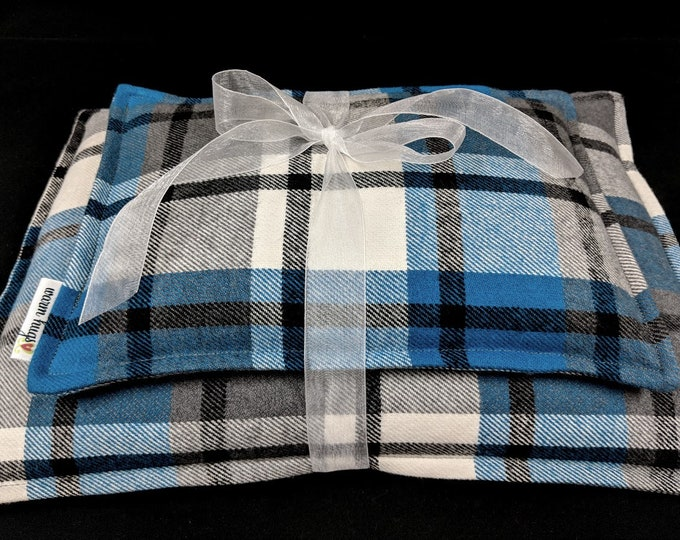 Plaid Flannel Corn Heating Pad Set, Corn Bags, Microwave Heating Pad, Heat Packs, Relaxation Gift, Cabin Bed Warmer