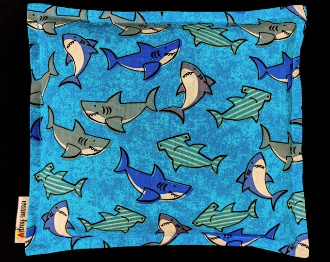 Shark Corn Bag, Heat Pack, Microwave Corn Heating Pad, Heated Bag, Ice Pack, Relaxation Gift, Gift for Children, Blue Gray Shark Bag