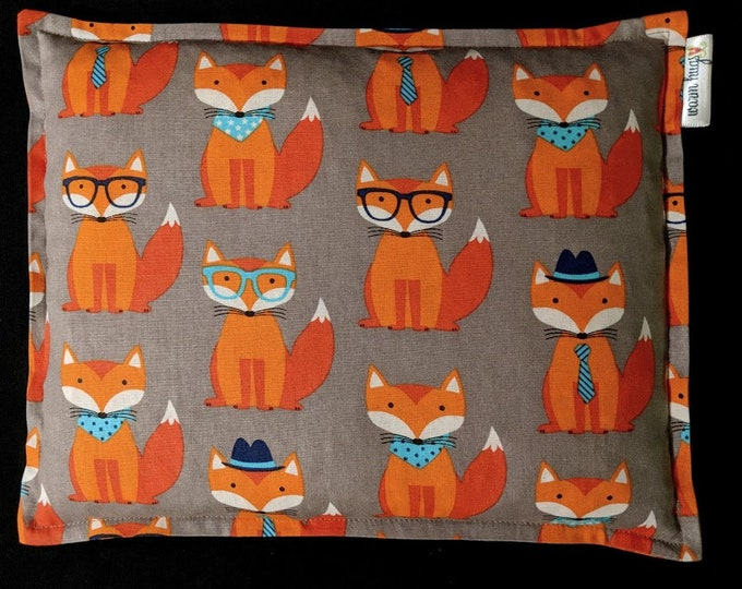 Orange Fox Corn Bag, Corn Heating Pad 9 x 11, Microwavable Heat Pack, Relaxation Gift, Heated Pillow, Pain Relief, Dorm Room, Cramp Relief