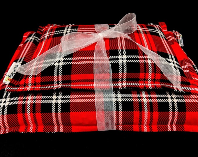 Red Plaid Corn Heating Pad Set, Corn Bags, Microwave Heating Pad, Ice Pack, Heat Therapy, Relaxation Gift, Cabin Bed Warmer